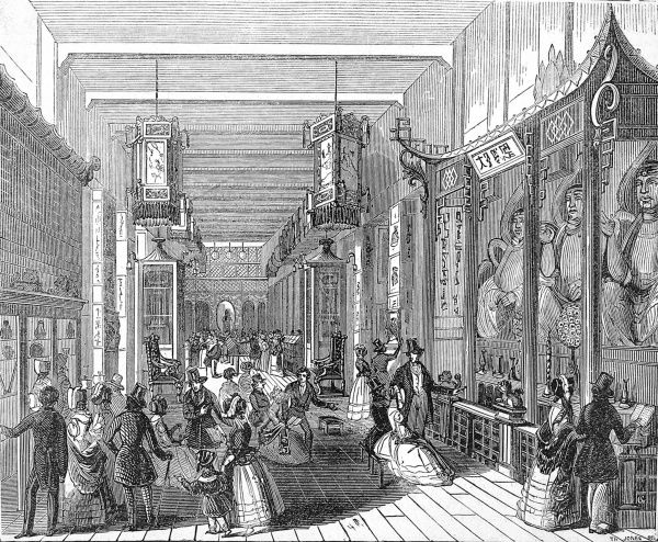 Engraving showing the interior of a Chinese Collection exhibition which was set up near Hyde Park Corner, London, in 1842