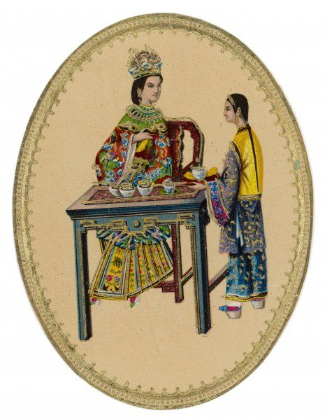 A nobly-born Chinese lady prepares to drink the tea which a servant girl has been kind enough to bring her