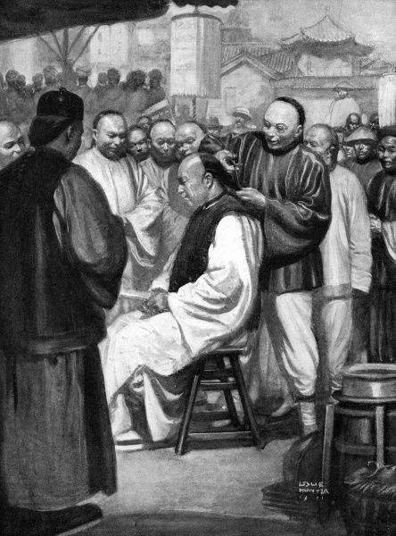Abolishing the badge of servitude, Chinese men having their pigtails publicly cut off. The pigtail was of Manchu origin, and enforced when the dynasty conquered China in 1627. The Chinese rebellion of 1911, also known as the Xinhai Revolution