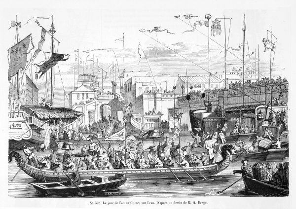 CHINESE NEW YEAR A Dragon-headed boat is the centre-piece of the New Year's water festival Date: 1848