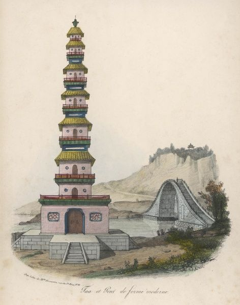 A pagoda of later style, comprising a number of superimposed storeys of diminishing size : also a bridge built high to allow masted vessels to pass