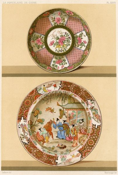 Chinese porcelain : two dishes, decors famille rose from the 5th epoch