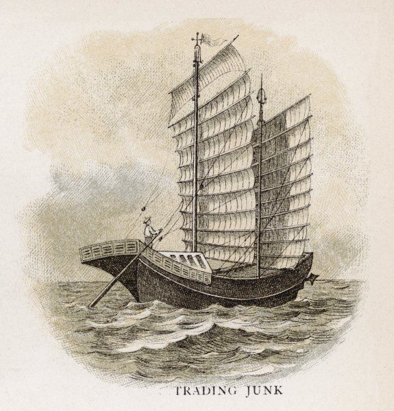Chinese trading junk - notice the unusual way the sails are constructed fixed to an array of spars