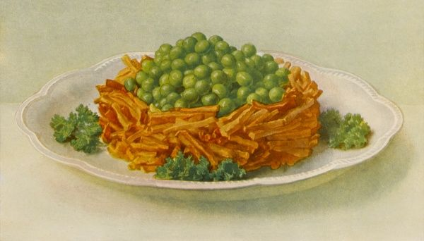 Chips and peas, with garnish