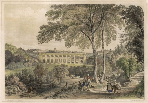 The Chirk Viaduct on the Shrewsbury & Chester Railway erected between 1846-1848 by Henry Robertson. Running alongside is the lower Chirk Aqueduct built 1801 by Telford