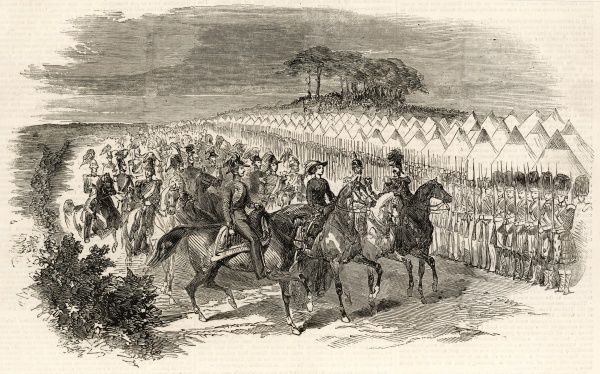 The camp at Chobham showing the arrival of Queen Victoria at Magnet Hill