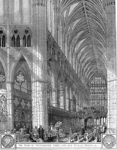Engraving showing the choir of Westminster Abbey, with a lecturn in the foreground and the screen on the right, 1848