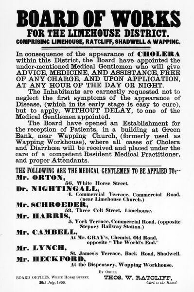 Board of Works, for the Limehouse District issue a poster warning about the effects of cholera