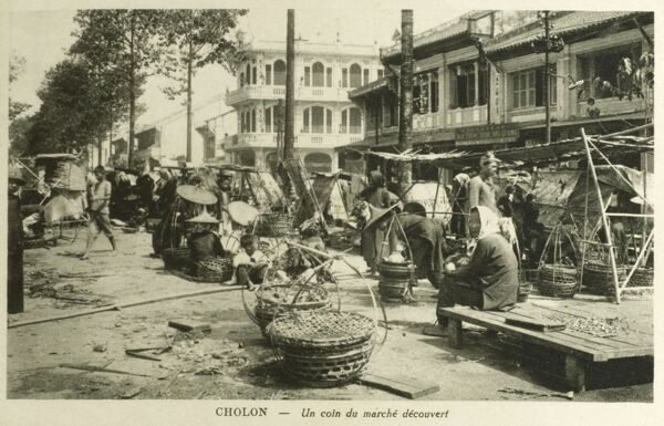 Cholon, a Chinese-influenced district of Ho Chi Minh City (former Saigon), Vietnam - Market Stalls. Date: circa 1910s