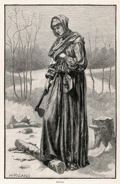 A lady goes out into the snow with her axe to chop wood for the fire
