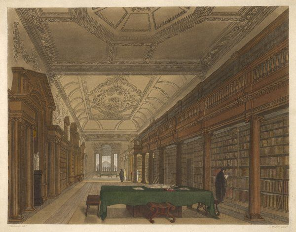 The interior of Christ Church Library, Oxford showing ceiling to floor bookshelves. A student is shown working. Two ladies are being given a tour in the background