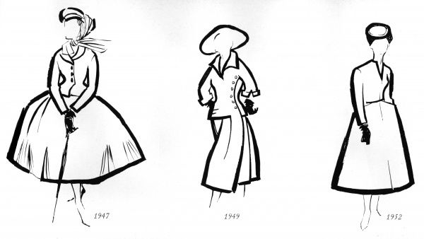 Three sketches outlining the fashionable silhouettes created by French couturier Christian Dior, including the famous, extravagent New Look of 1947 with the sumptuous skirt, and two more shapes for 1949 and 1952 showing a modified version of it