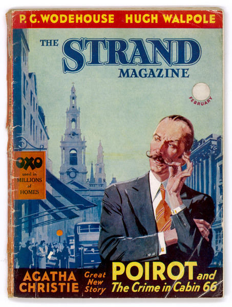 Belgian detective Hercule Poirot, featured on the cover of the Strand magazine containing Christie's story The Crime in Cabin 66