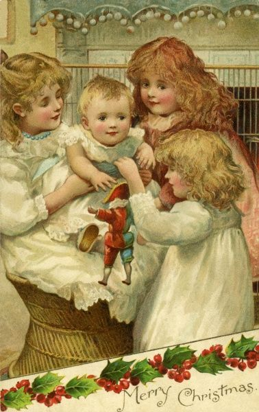 Christmas. 3 girls with a baby and a harlequin doll. Artist: Harriet Bennett. 3 girls playing with a baby boy and a new toy. Date: circa 1900