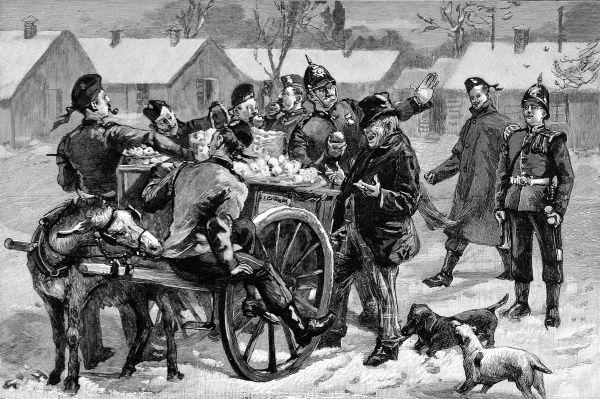 Engraving showing the arrival of the 'Tuck' cart at an Army Barracks, at Christmas. The 'tuck' man was obliged to have a pass from the commanding officer to allow him to bring his cart into the barrack yard and sell fruit, sweets