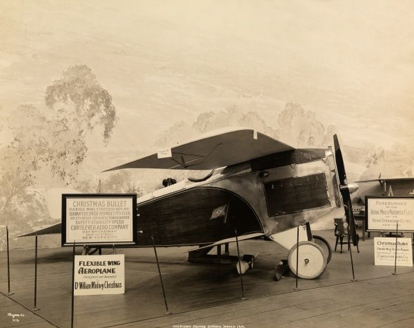 Madison Square Garden, March 1919. Airplane, the Christmas Bullet, inside Madison Square Garden at an aeronautical show