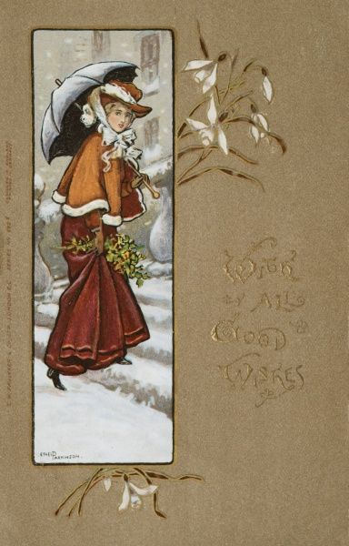 A Christmas card by Ethel Parkinson, showing an elegant lady walking through the snow with an umbrella. Date: early 20th century