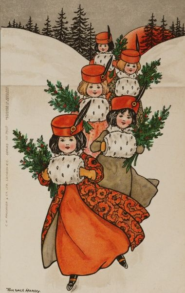 Five little girls, wearing complementing cosy outfits of coats, feathered pill box hats and fur muffs, skate in unison across a pond with holly branches in their arms