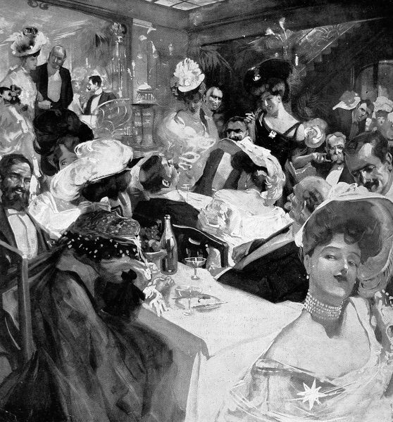Christmas Eve at the Parisian restaurant, Maxim's. Maxim's was founded by Maxime Gaillard on April 23rd 1893 becoming Paris' most celebrated and fashionable restaurant