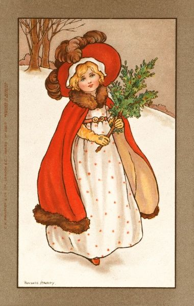 A little girl, wearing a white dress with a fur-trimmed red cape and hat walks through the snow carrying a sprig of holly
