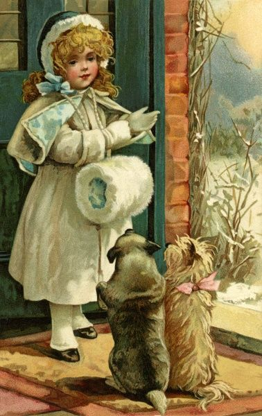 Christmas. A girl and her obedient dogs. Artist: Anon. A girl, dressed in coat, bonnet and muffler, prepares to go out for a walk in the snow withher eager dogs. Date: circa 1902