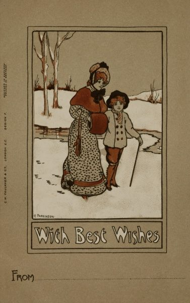 A Christmas Greetings card by Ethel Parkinson, showing a lady and a boy walking through a snowy landscape. They are dressed in 19th century style