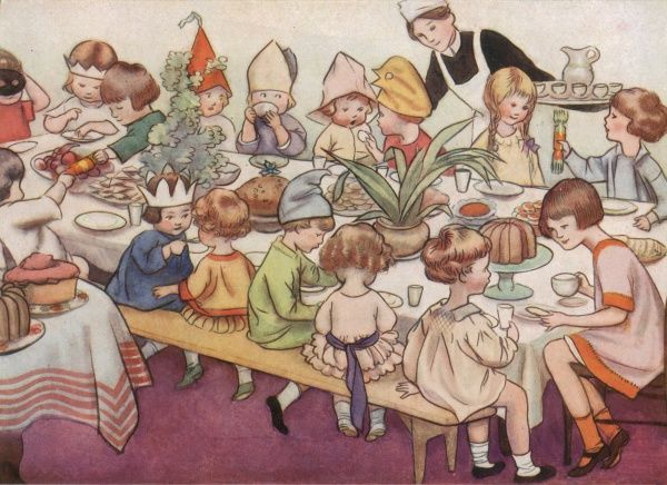 A colour illustration of a children's Christmas party