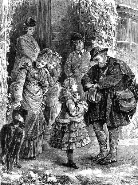 Front cover engraving from the Graphic showing a postman arriving at a house in the country