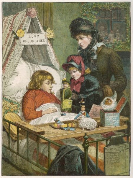 Christmas comes but once a year -- a scene at the Evelina Children's Hospital, founded in Southwark, London, in 1869. A sick little girl is visited by her mother and younger sister. The Evelina became a branch of Guy's Hospital in 1948