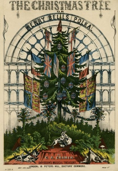 A Christmas tree decorated with international flags with the Crystal Palace in the background. Date: 1851