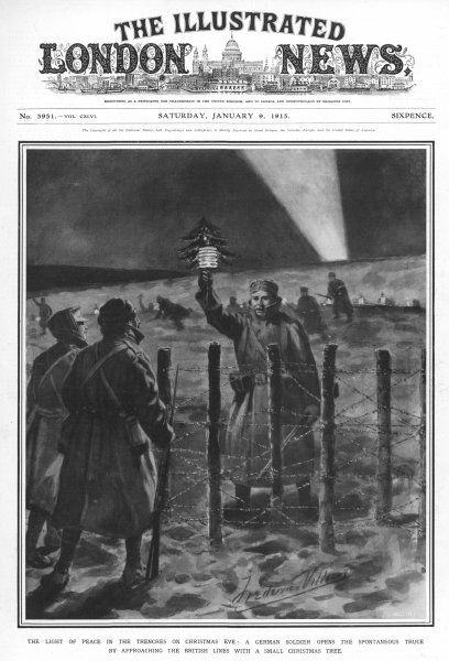 A light of peace in the trenches on Christmas Eve as a German soldier approaches the British lines with a Christmas Tree and small paper lantern