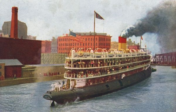 Whaleback excursion steamer built in 1893, operating from Chicago to the Lakes and Milwaukee. Date: 1916