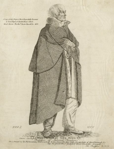 "Print of full length illustration of Christophoros Lee Sugg, Professor of Internal Elocution, and marked ""A copy of this print is most respectfully presented to each pupil of Charter House School. Head Master The Reverend Doctor Russell"", 1829"