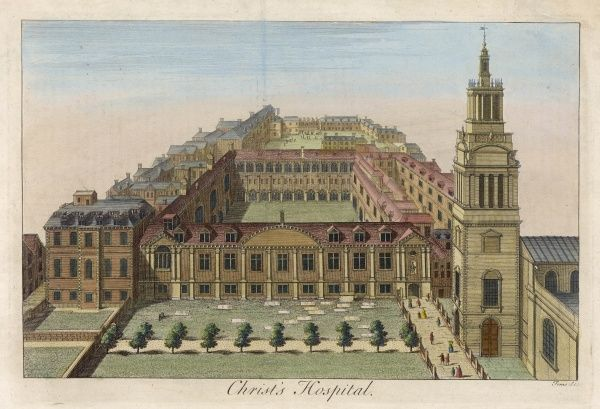 The building of Christ's Hospital School at Newgate - the buildings rebuilt with the assistance of Sir Christopher Wren and Nicholas Hawksmoor