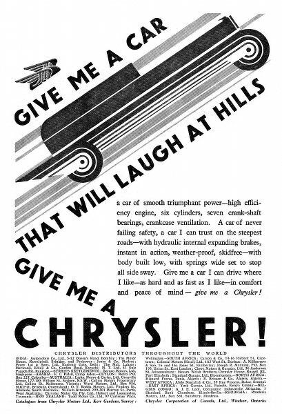 'GIVE MA A CAR THAT WILL LAUGH AT HILLS - GIVE ME A CHRYSLER !' - one of Ashley Havinden's striking press advertisements for Chrysler in Britain