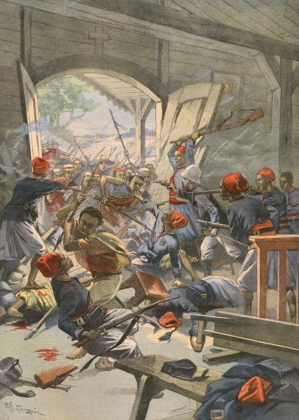 Rebels destroy a loyal Algerian-French post in church Date: 1905