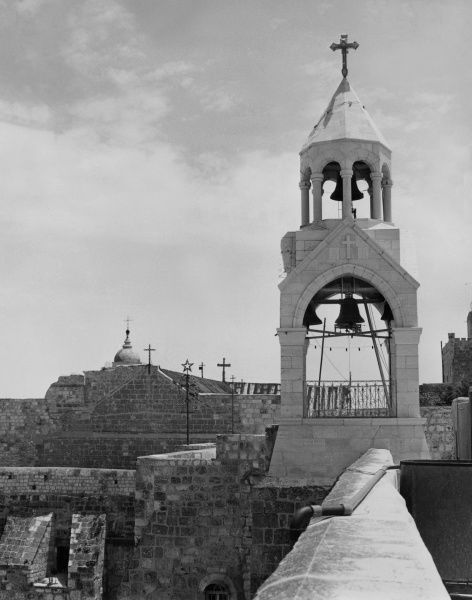 The Church of the Nativity, the birthplace of Jesus Christ, Manger Square, Bethlehem, Israel. Date: 1960s