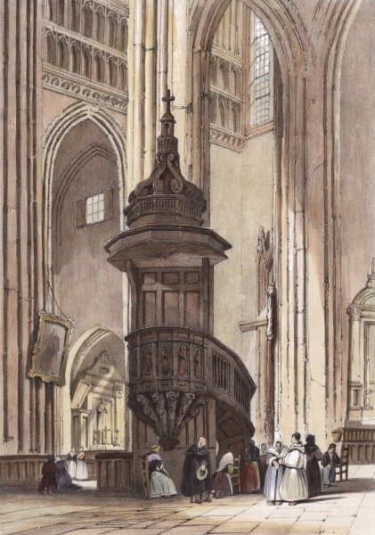 The great pulpit in the church of Saint-Maclou Date: 1838