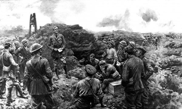 Illustration showing a group of British soldiers holding a church service on a Sunday, somewhere on the Western Front in France, 1916. The Chaplain (at left, without hat) leads the impromptu service as the British gunners (in the background