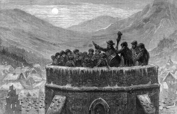 Singing carols from the top of a church tower in the Harz Mountains, Germany Date: 1887