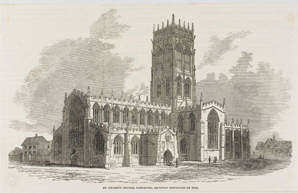St. George's Church, Doncaster, before it was destroyed by fire in 1853