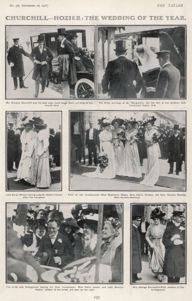 A page from The Tatler reporting on the wedding of Winston Churchill to Miss Clementine Hozier in 1908