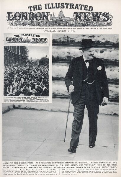 Front cover of the ILN featuring Winston Churchill leaving Downing Street for Buckingham Palace to tender his resignation to the King after his election defeat of 1945