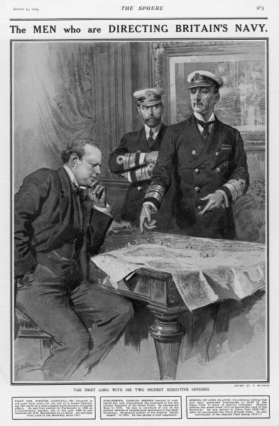 WINSTON CHURCHILL As First Lord of the Admiralty, discussing strategy with Madden and Jellicoe