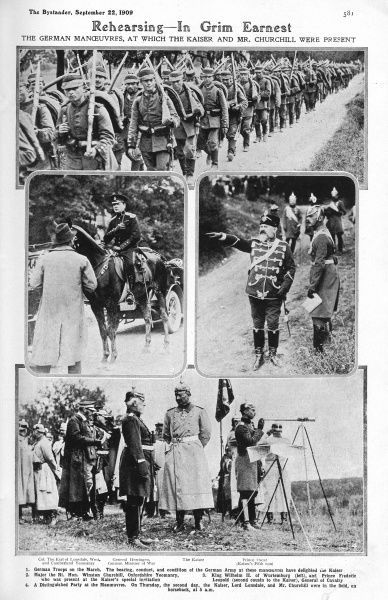 German army manoeuvres at which Winston Churchill was present in 1909. Churchill was on holiday in Marienbad when he attended the manoeuvres. He was warned by the King, via Prime Minister Campbell Bannerman that he should not be too 'communicative