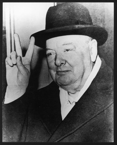 WINSTON CHURCHILL British Prime Minister in later life, making his famous wartime 'V for Victory' sign