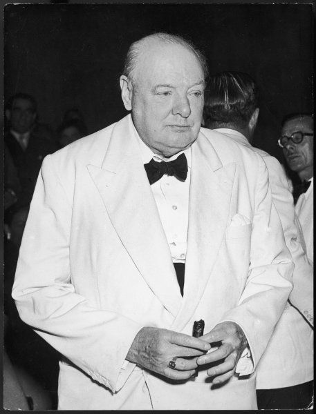 WINSTON CHURCHILL British Prime Minister photographed in 1954, during a visit to Venice