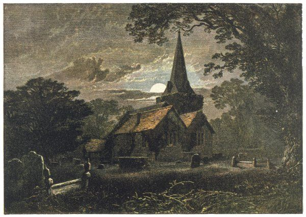 The moonlit churchyard of Stoke Poges, where the poet Thomas Gray was inspired to write his famous Elegy Date: circa 1860