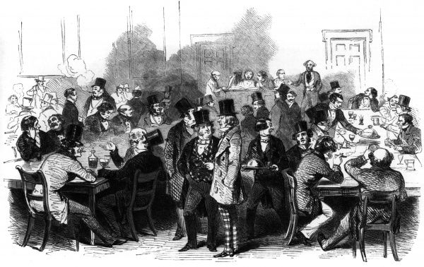 Men drinking at a pub in the Strand called 'The Cider Cellar'. Date: 1850