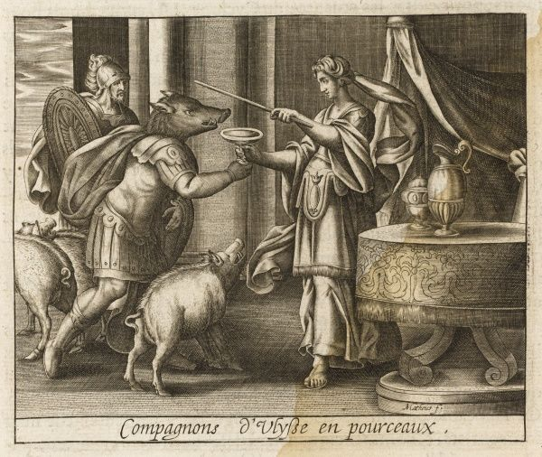 She changes the companions of Odysseus into pigs